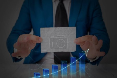Photo for Ascending Growth Trends Movement Performance Financial Chart Status Report - Royalty Free Image