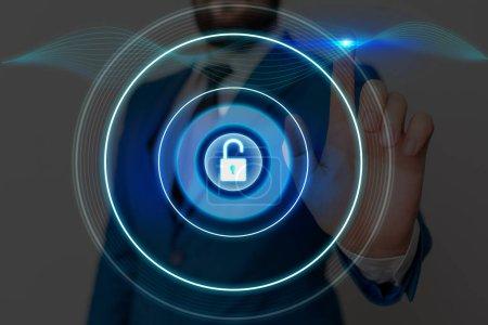 Photo pour Cadenas graphique pour le système d'application de sécurité d'information de données Web - image libre de droit