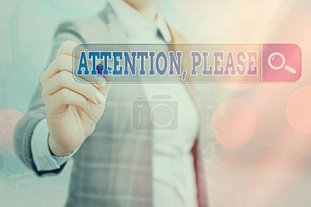 Photo pour Note écrite montrant l'attention, s'il vous plaît. Concept d'affaires pour attirer quand il y a quelque chose à annoncer Recherche Web information numérique technologie futuriste connexion réseau - image libre de droit