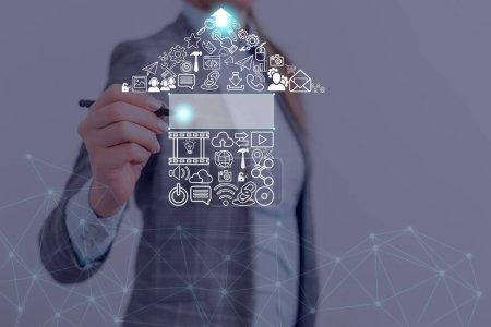 Photo pour Information Digital Technology Network Connection Éléments d'infographie Icône - image libre de droit