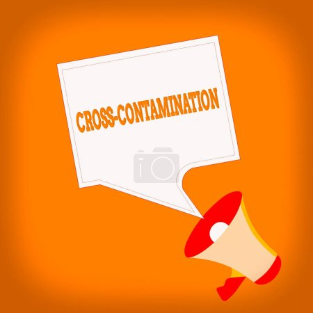 Photo for Word writing text Cross Contamination. Business photo showcasing Unintentional transmission of bacteria from one substance to another Megaphone and Blank Bordered Square Speech Bubble Public - Royalty Free Image