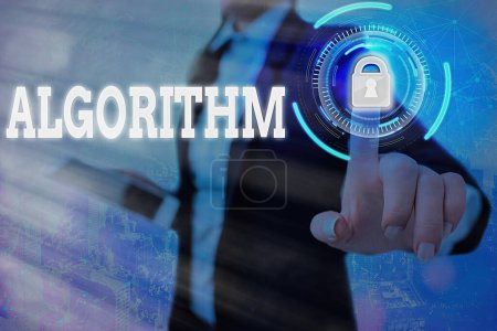 Photo for Text sign showing Algorithm. Business photo text procedure for solving a problem or accomplishing tasks etc. Graphics padlock for web data information security application system - Royalty Free Image