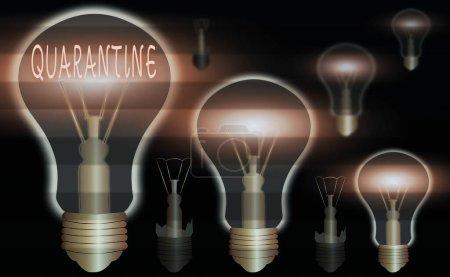 Escritura a mano conceptual que muestra Cuarentena. Foto de negocios mostrando moderación sobre las actividades de un individuo o el transporte de mercancías bombillas vintage de colores realistas, solución de signo de idea