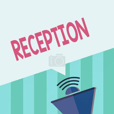 Photo pour Écriture de texte Réception. Photo d'affaires mettant en valeur le rassemblement social souvent dans le but d'étendre un mégaphone de bienvenue demi-ton avec icône sonore et bulle vocale géométrique vierge - image libre de droit