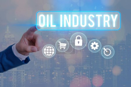 Photo for Conceptual hand writing showing Oil Industry. Concept meaning Exploration Extraction Refining Marketing petroleum products Information digital technology network infographic elements - Royalty Free Image