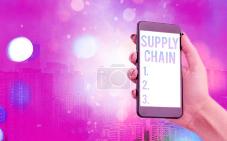 Photo for Word writing text Supply Chain. Business photo showcasing System of organization and processes from supplier to consumer Modern gadgets with white display screen under colorful bokeh background - Royalty Free Image