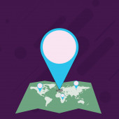 Colorful Huge Location Marker Pin Pointing to an Area or Address on Map Creative Background Idea for Delivery Shipping Presentation Navigation Shopping and Travelogue Guide