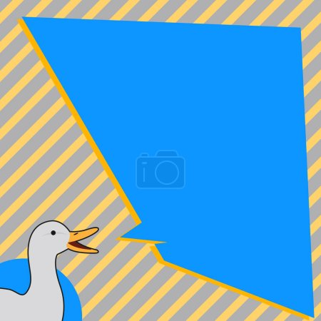 Illustration of Duck Speaking with Uneven Shape Bl...