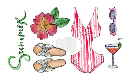 Photo for Hand painting watercolor illustration. beach party outfit, swimwear, sunglasses and cocktail. isolated elements. - Royalty Free Image