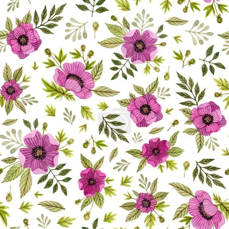 Photo for Watercolor hand painted pink flowers and leaves. poppies floral, anemones flower. seamless pattern on a white background - Royalty Free Image