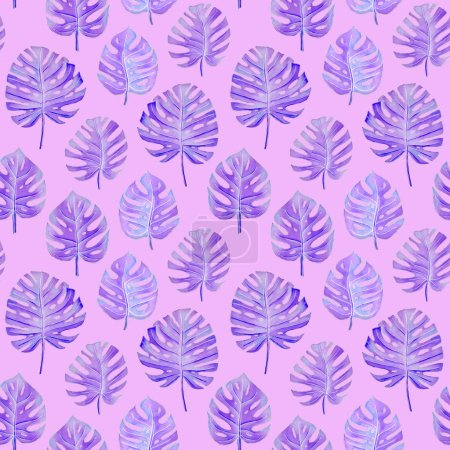 Photo for Violet monstera leaves on a pink background. tropical seamless pattern - Royalty Free Image