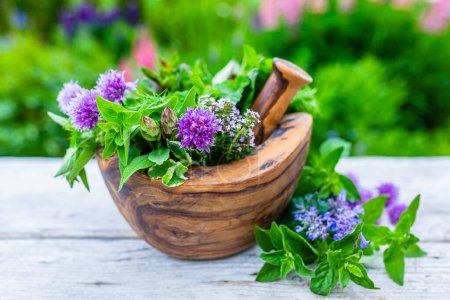 Photo for Fresh and aromatic herbs in a wooden mortar. - Royalty Free Image