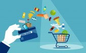 Flat style of shopping cart with products and credit card of loyalty on blue background