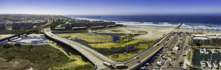 This is a 3 image aerial panoramic of the Oceanside, California, USA area.