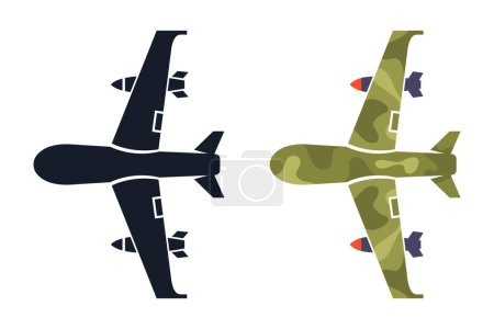 Photo for Military drone on a white background. icon and color illustration. flat vector - Royalty Free Image