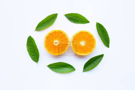 High vitamin C,  Fresh orange citrus fruit with gr...