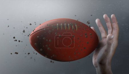 A closeup of an aussie rules ball caught in slow motion flying through the air about to be caught by a dirty hand  - 3D render