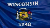 Wisconsin  state flag. Waving flag of Wisconsin  state, United States of America.