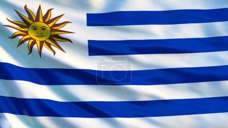 Photo pour Drapeau Uruguay. Drapeau ondulé de l'Uruguay Illustration 3D. Montevideo - image libre de droit