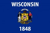 Wisconsin vector flag Vector illustration United States of America