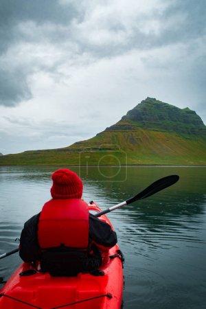 Photo for Extreme adventure sport, Iceland kayaking, paddling on kayak, outdoors activity - Royalty Free Image