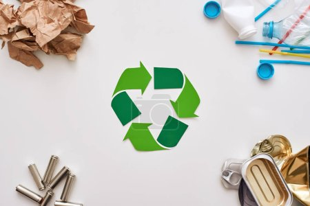vier Arten von Müll. Batterien, Dosen, Papier und Plastik in den Ecken