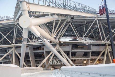 Foto de Samara, Rusia - Febrero, 2018: Copa del Mundo de Fútbol 2018 construcción del estadio - Imagen libre de derechos