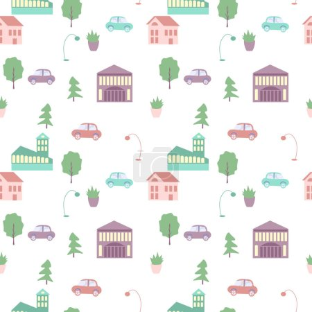 Illustration for Seamless city elements vector pattern - Royalty Free Image