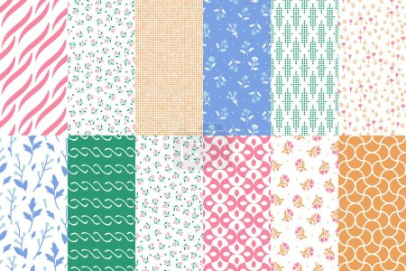 Illustration for Seamless geometric and floral patterns set - Royalty Free Image