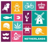 Traditional symbols of the Netherlands Flat icons