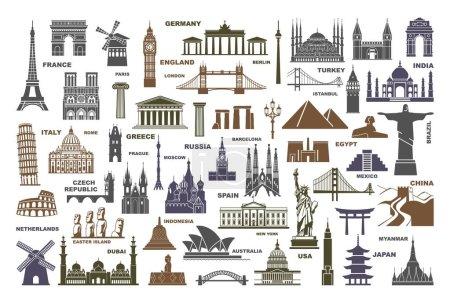 Illustration pour Icône monuments architecturaux et attractions touristiques mondiales - image libre de droit