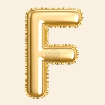 Ballon de couleur dorée lettre F