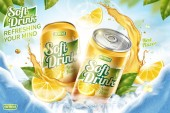 Cool soft drink ad with ice cubes and splashing juice in 3d illustration green leaves and ice cave background