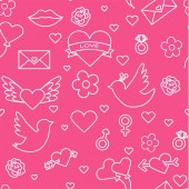 Valentines day seamless pattern Love romance flat line icons - hearts engagement ring kiss balloons doves valentine card Red blue wallpaper for february 14 celebrationvector
