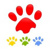 Colorful Dog Paw Prints Symbol Design Template