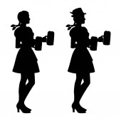 Two isolated silhouettes of Oktoberfest girls in Bavarian folk costumes with beer mugs