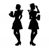 Two isolated silhouettes of an Oktonerfest girl in national dress with a beer mug
