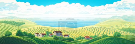 Rural panoramic landscape with a