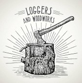 Ax stuck in a wooden stump with split logs illustration in a graphic style