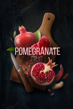 Photo for Fresh raw pomegranate with leaves, knife on chopped board over dark marble background. High resolution image, 3d conception - Royalty Free Image