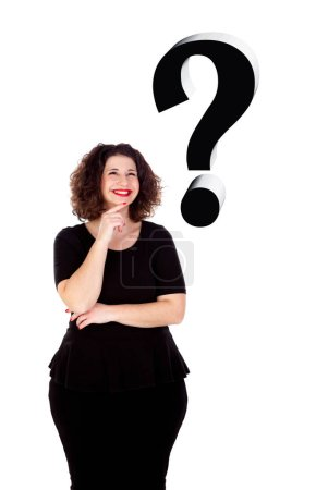 smiling beautiful overweight young woman in black dress isolated on white background, question mark symbol