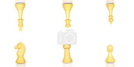 set of yellow chess pieces isolated on white background