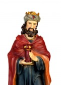 Gaspar, one of the three wise men. Ceramic figure isolated on white background