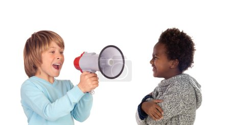 Photo for Funny child shouting through a megaphone to his friend. Isolated on white background - Royalty Free Image