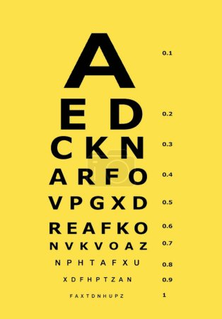 vision exam chart with a yellow background