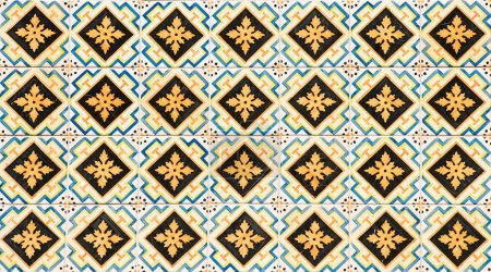Vintage azulejos, traditional Portuguese tiles texture for background