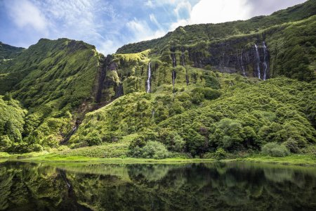 Mountain landscape of Poco da Ribeira do Ferreiro, Flores island, Azores in Portugal