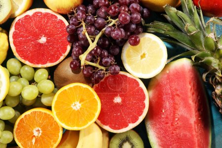 Photo for Fresh organic fruits background. Healthy eating concept. Flat lay. - Royalty Free Image