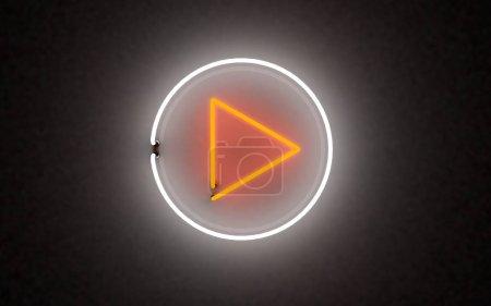 Photo pour Lumière au néon lumineux bouton de lecture. rendu 3d sur fond noir - image libre de droit