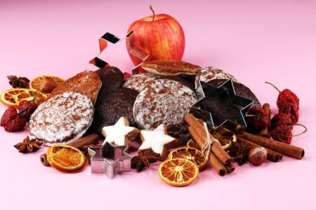 Photo for Typical German Gingerbreads such as Lebkuchen and Aachener Printen. christmas cookies with spices. - Royalty Free Image
